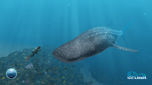 Dr. Earle diving with a whale shark in Infinite Scuba