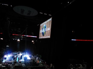 One of Neil Young's big screens at Rogers Arena, Vancouver BC